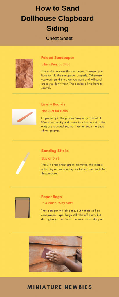 An infographic explaining how to sand dollhouse clapboard siding