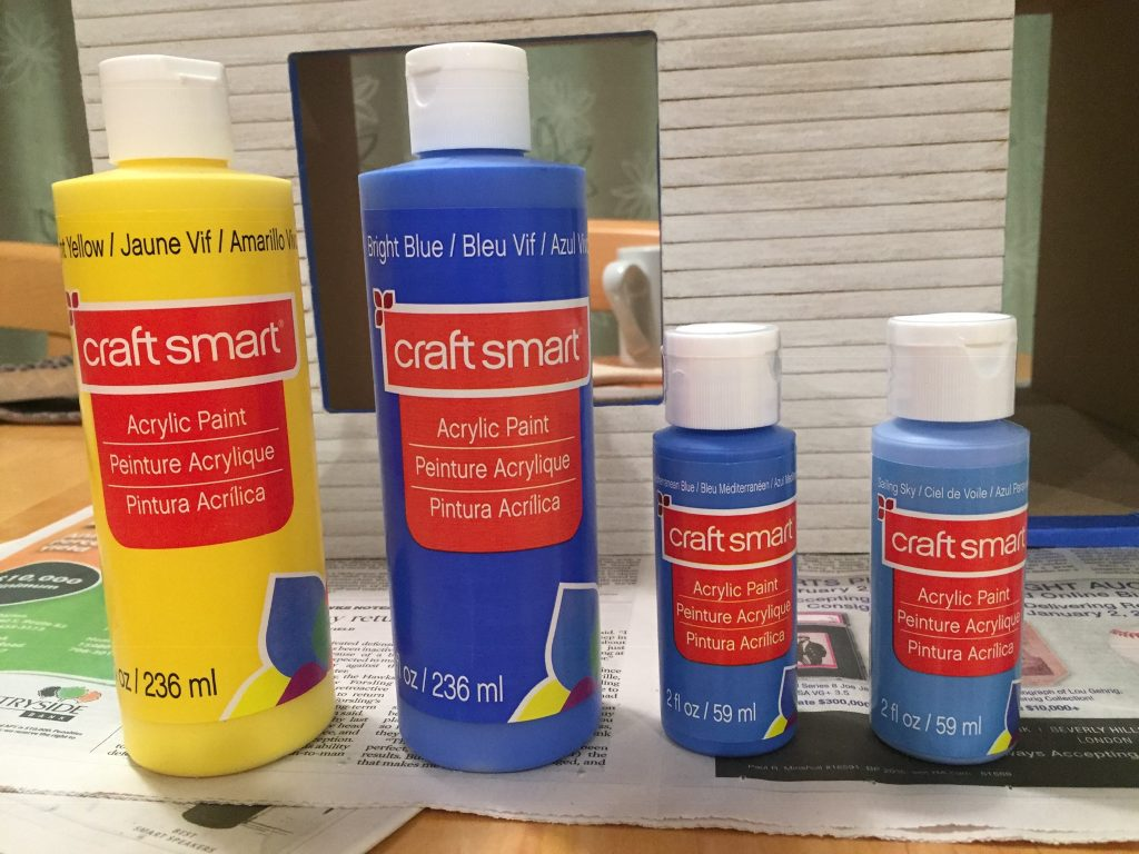 A picture of the four paints I chose: 3 blues and 1 yellow
