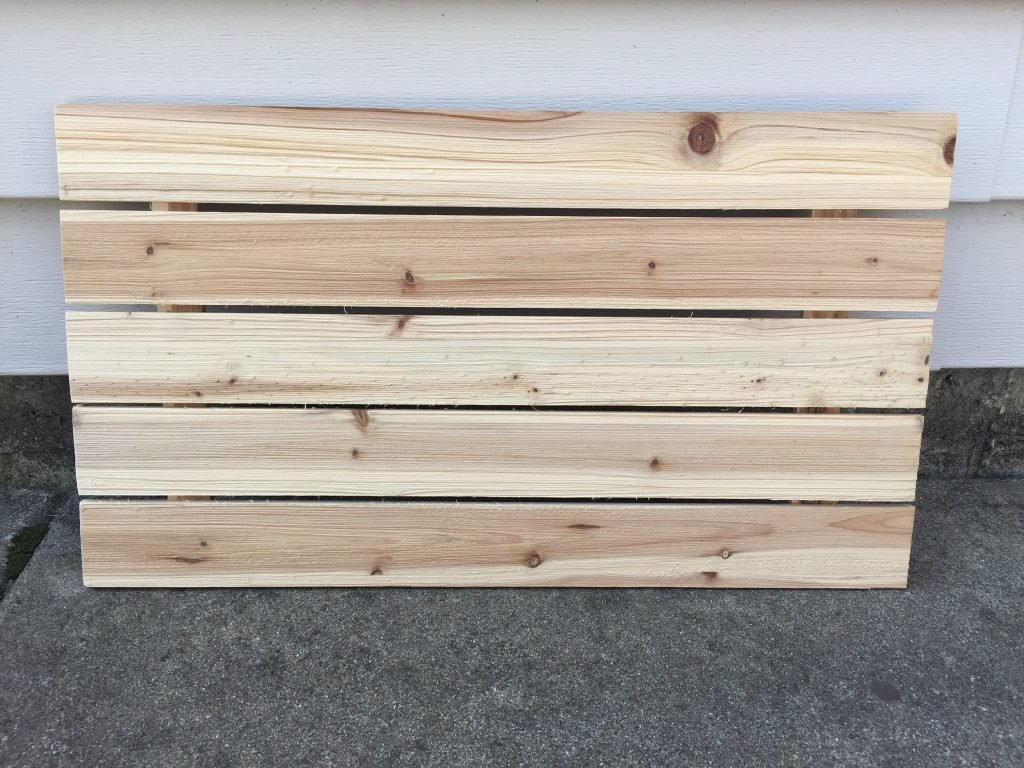 A picture of the wood board I want to stain with the shingle dye