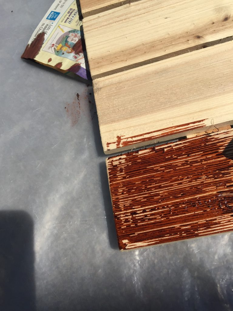 Close up of the dye on the wood after I applied it with the foam brush
