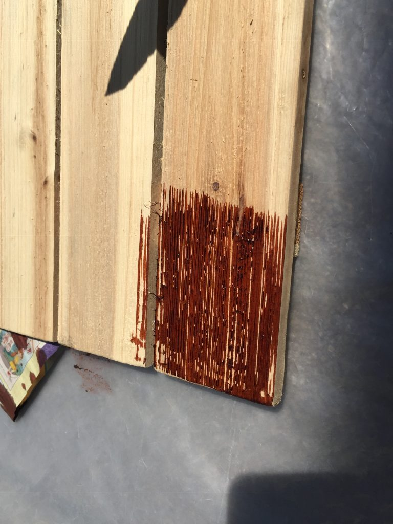 Picture of the wood dye on the board