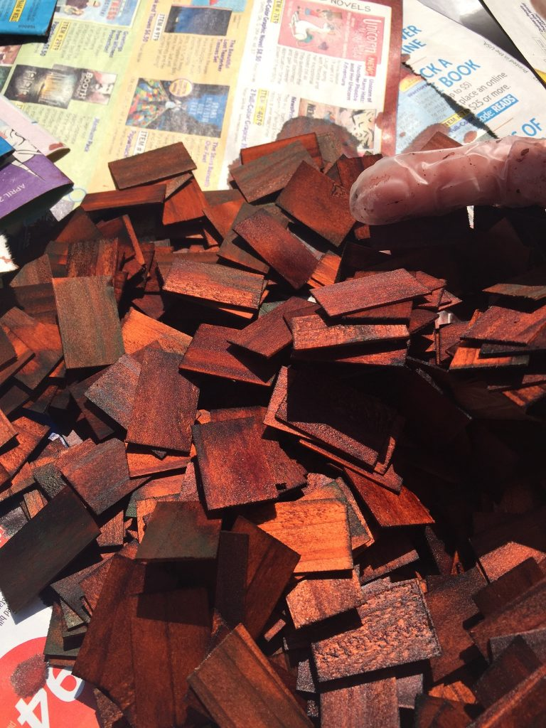 The heap of dollhouse shingles