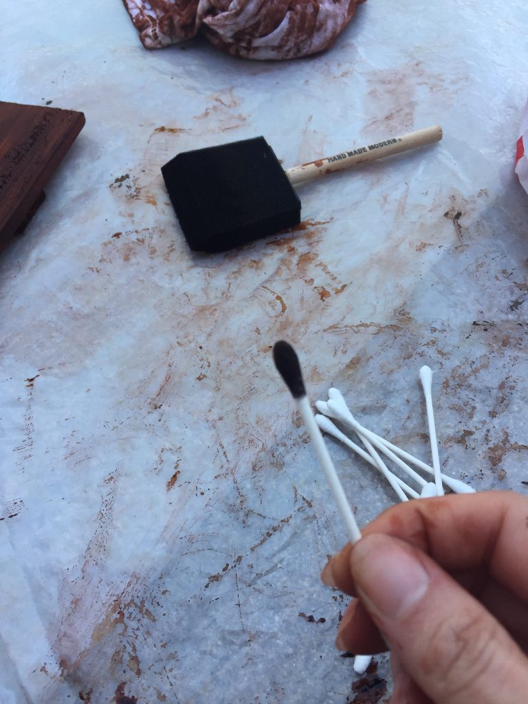 A picture of the cotton swabs I used for the dye in lieu of the foam brush