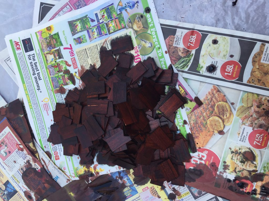 A picture of the dollhouse shingle heap after I dyed the shingles a second time.