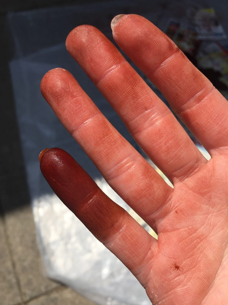 A picture of my pinky covered in dye