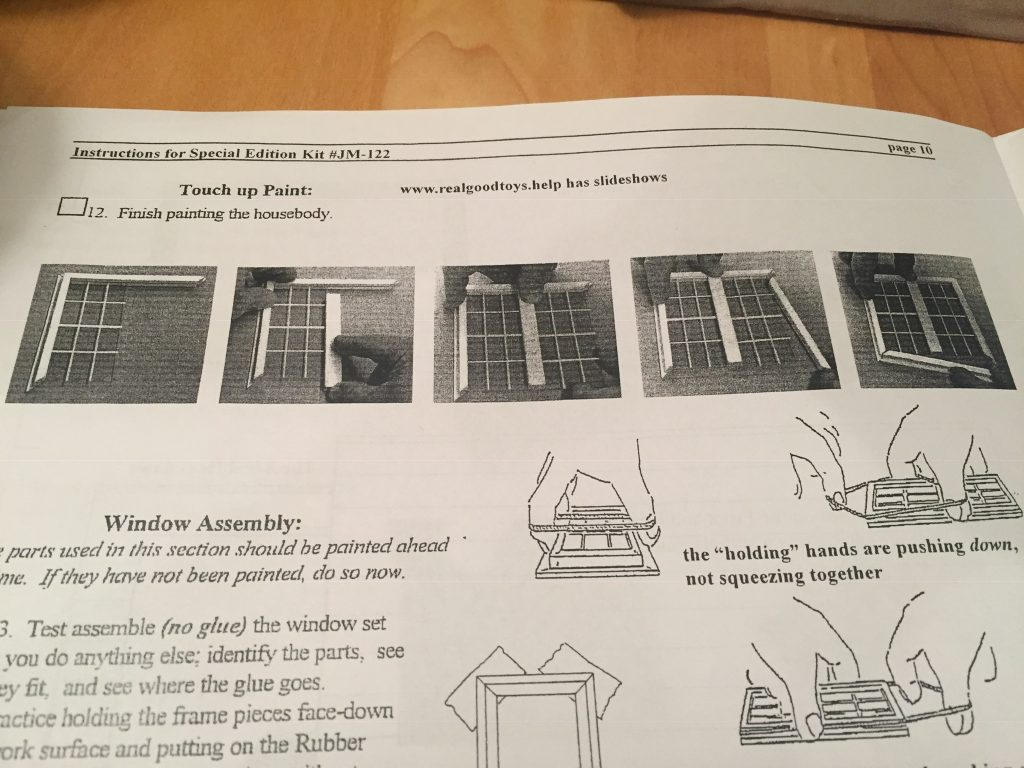 A picture of the window assembly instructions that I was not following.