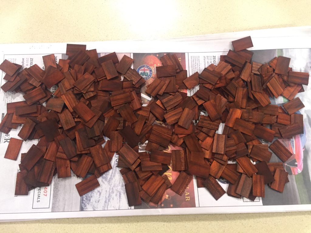 A picture of the dollhouse shingles after sitting for 5 days