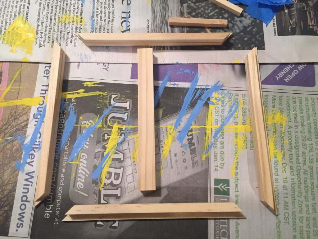 A picture of the disassembled window frame facing down so I can paint it