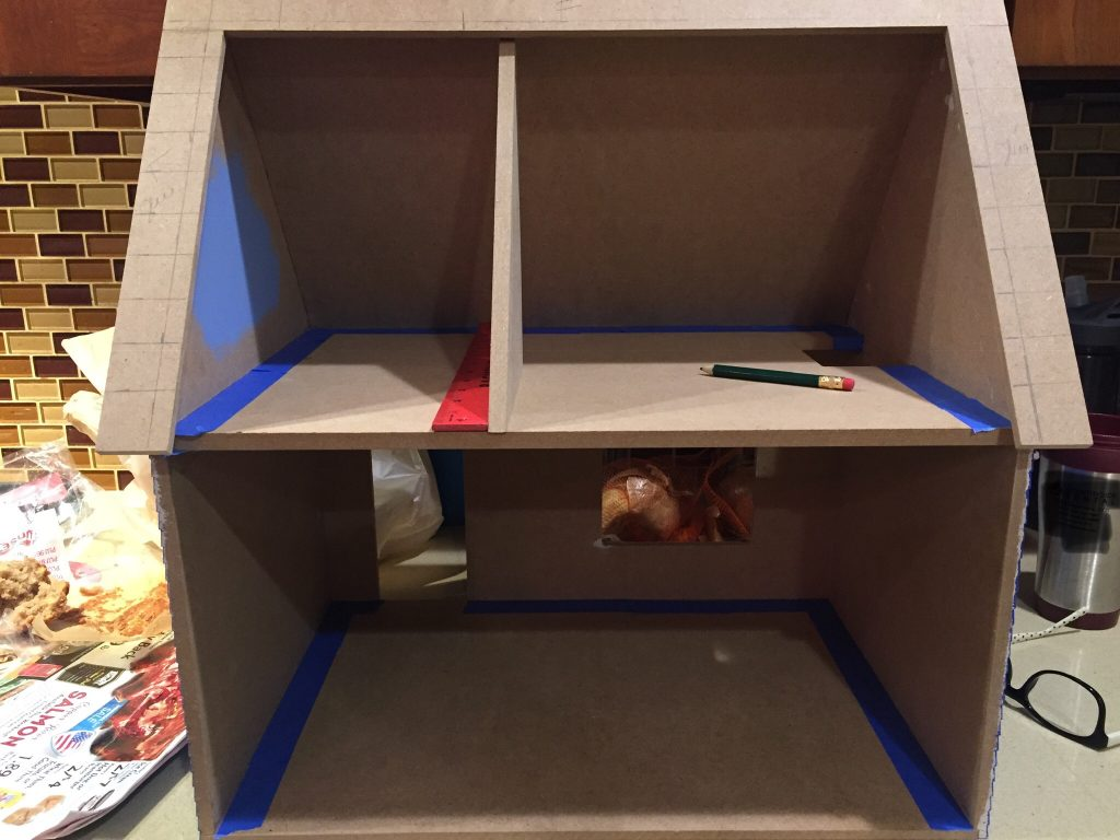 A picture showing the wall placement on the second floor of the dollhouse if I follow the dormer edges.