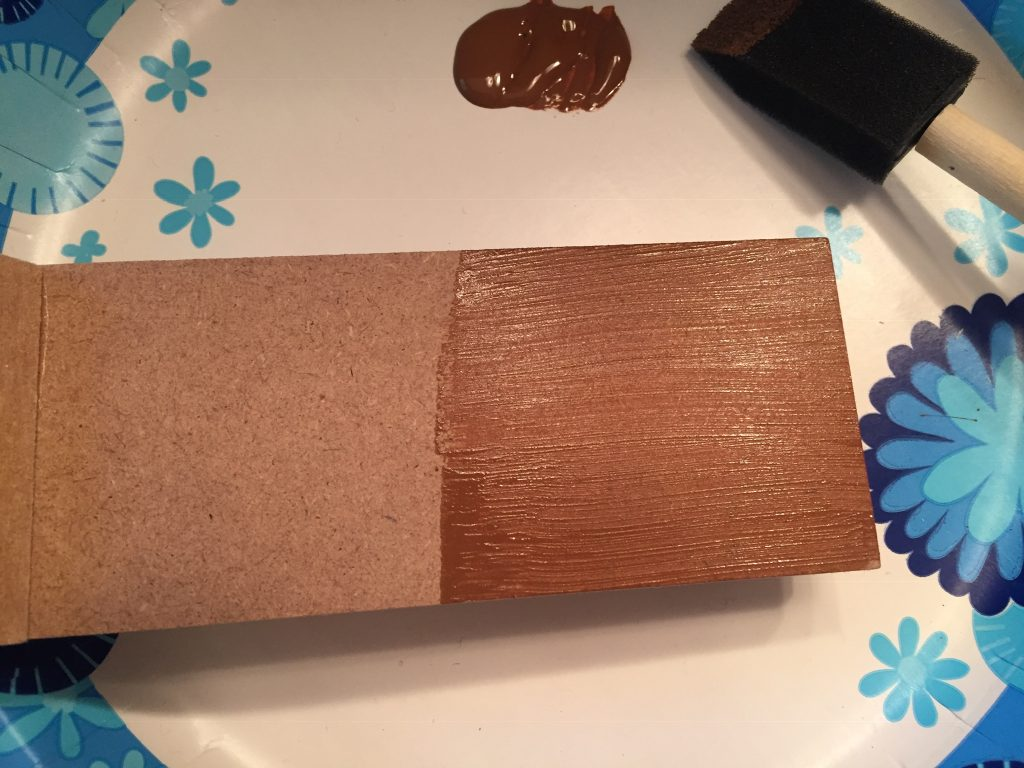 A picture of the Nutmeg Brown paint on the back of the stairs