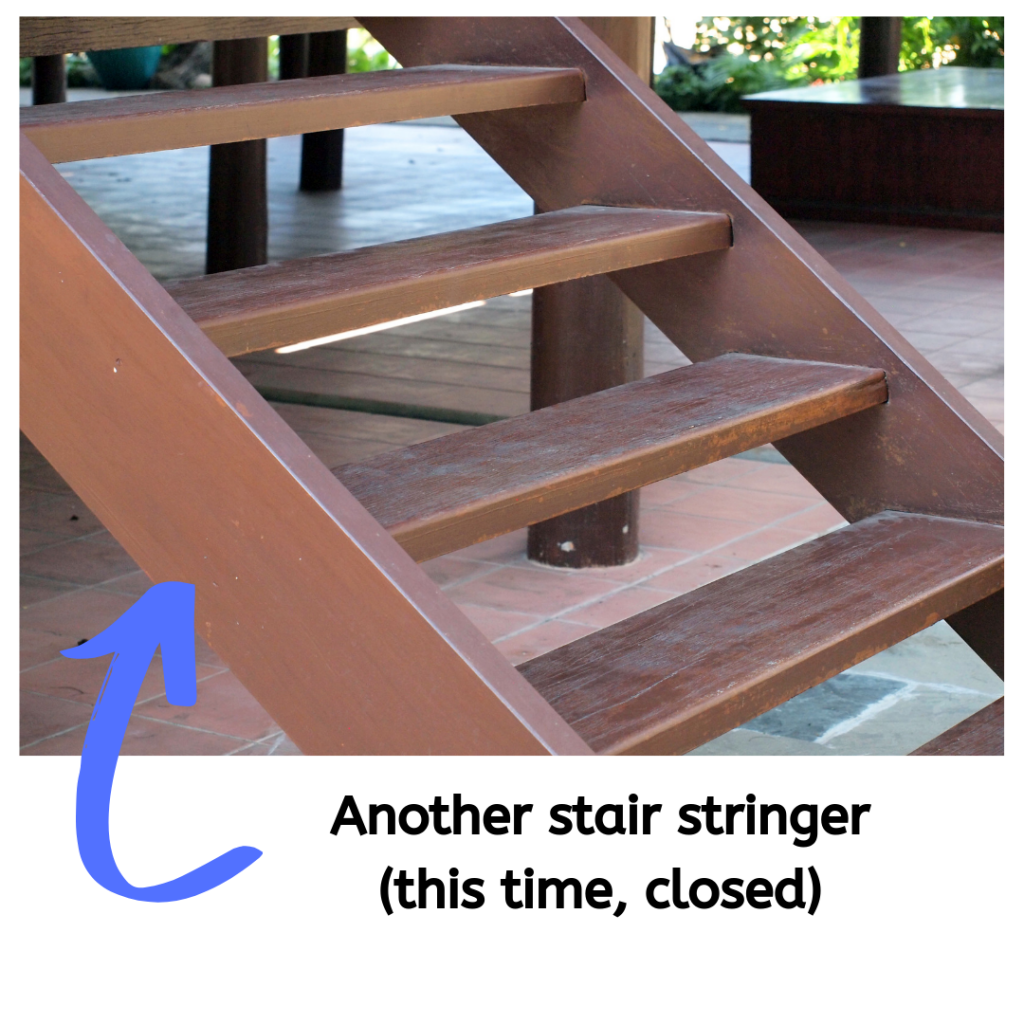 A picture of a closed stair stringer.