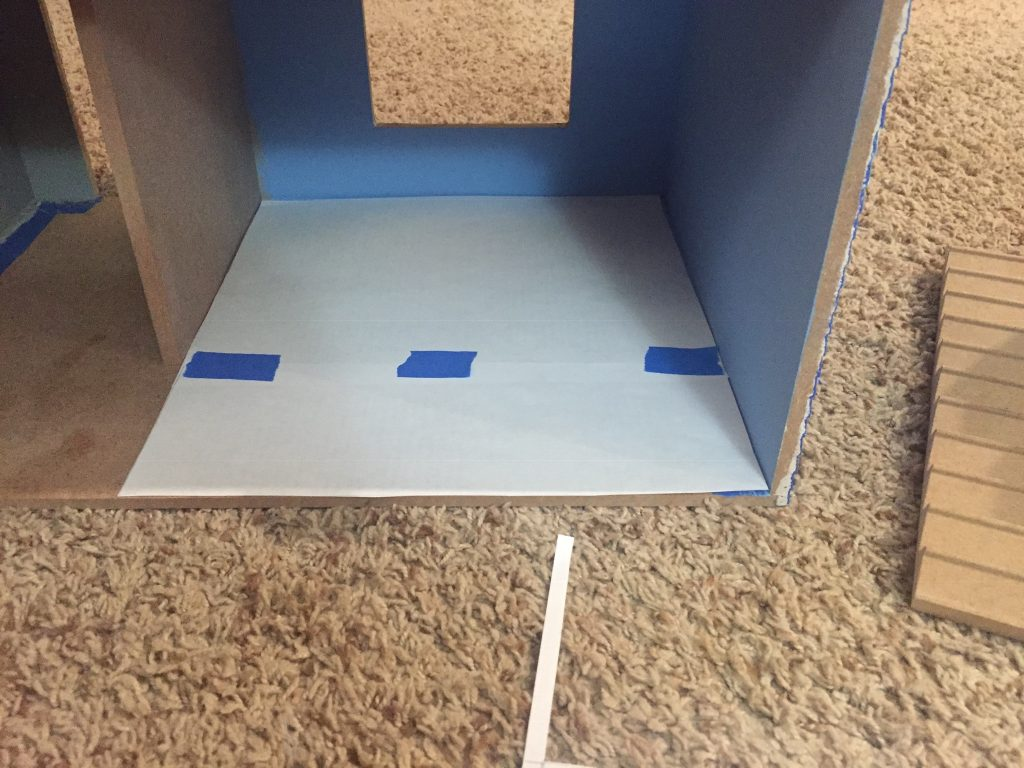 A picture of the dollhouse floor template for the first floor.