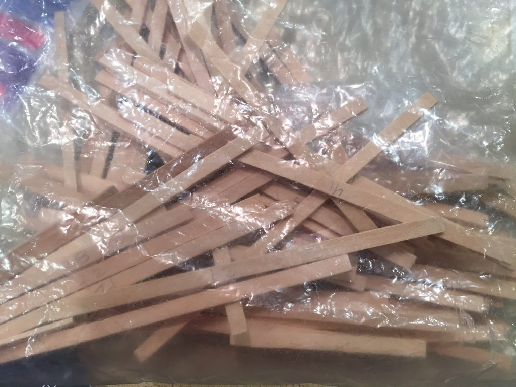 A picture of the cut balsa wood strips in a bag.