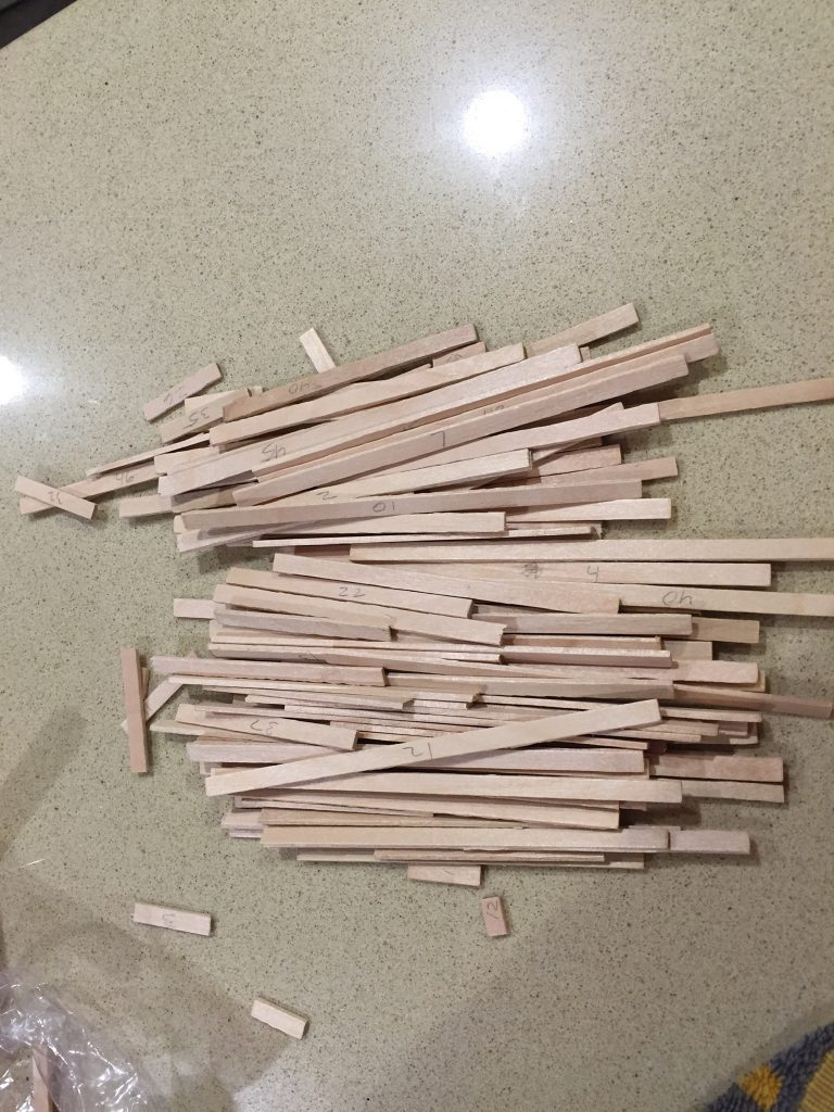 A picture of the balsa wood strips out of the bag.