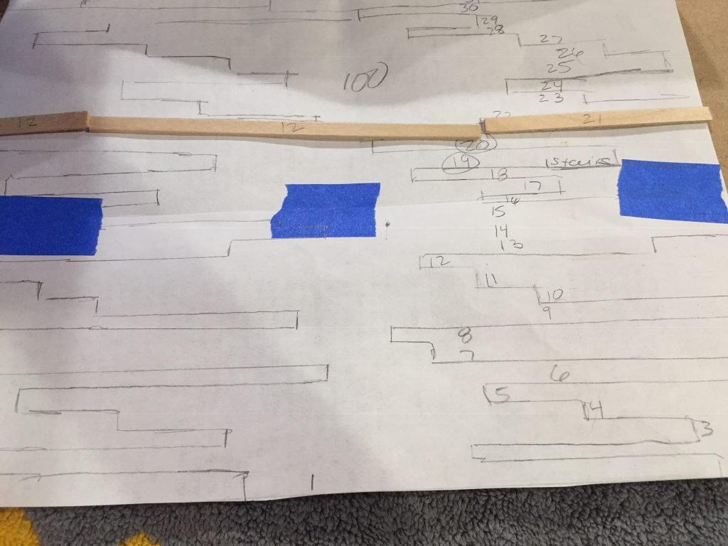 A picture of the balsa woods strips on the template to figure out where it goes.
