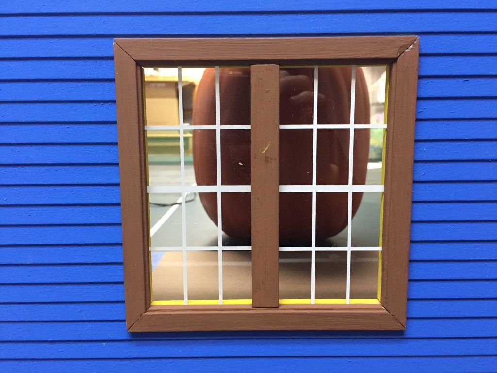 A picture of the completed window frame in place