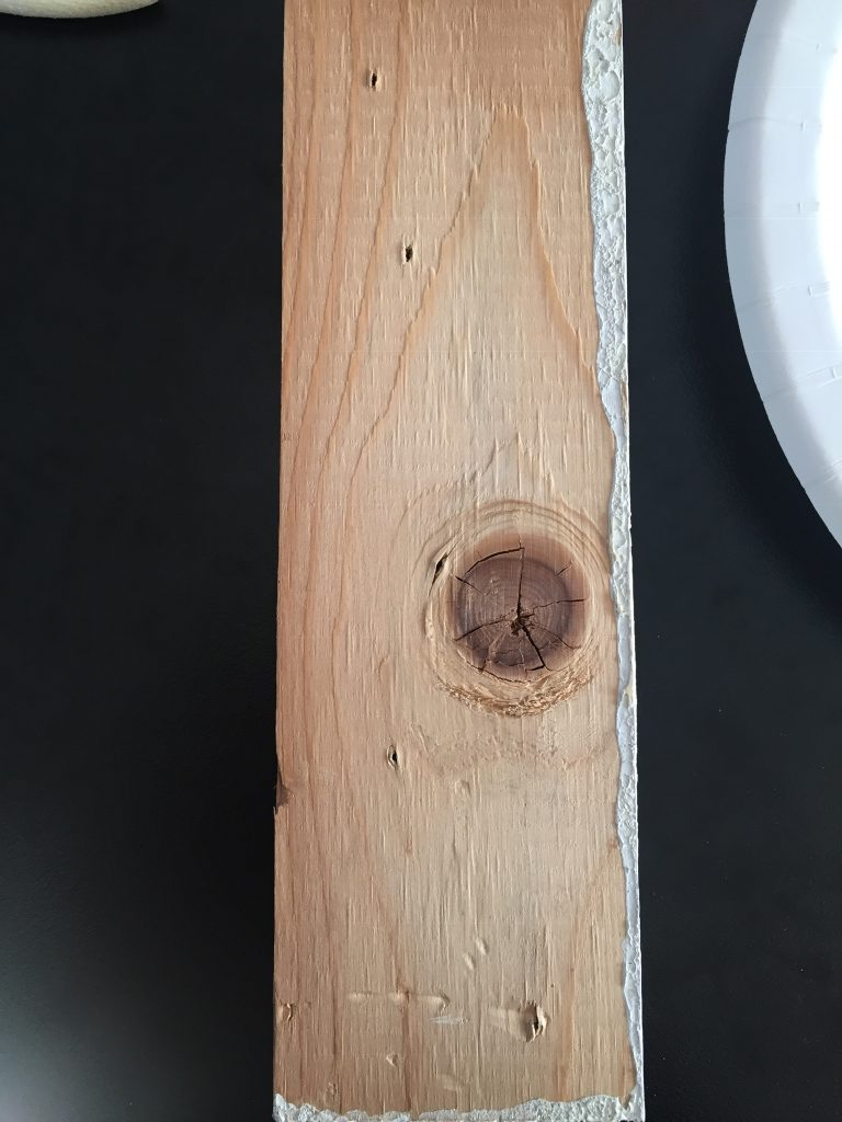 A picture of the scrap wood I used to test gel wood stain pros and cons