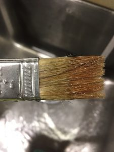 A picture of the paint brush I used for the gel stain after a rinse in oil