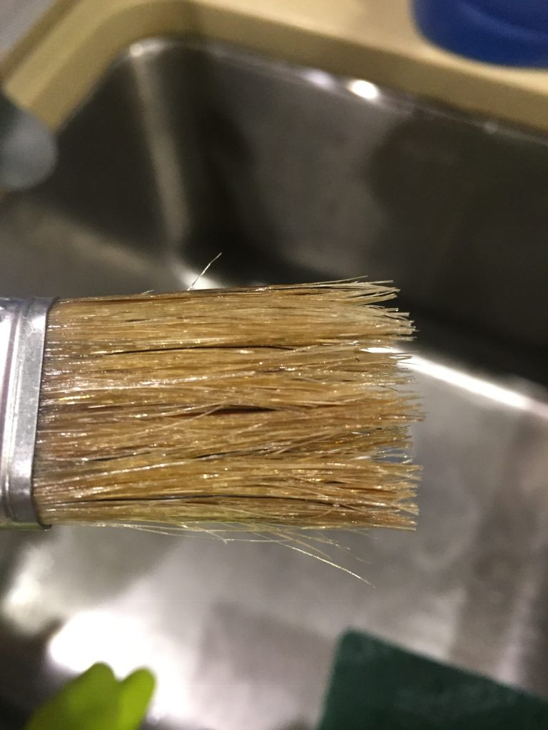 A picture of the paint brush I used for the gel wood stain after the final cleaning