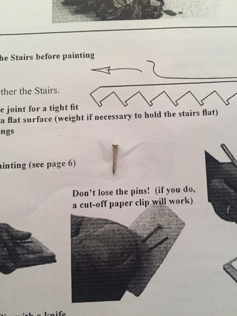 A picture of the nail taped down to the instructions so I don't loose it.