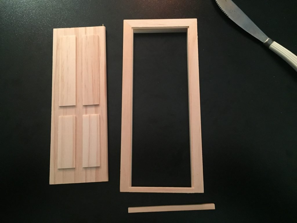 A picture of the door, the door frame, and the step.
