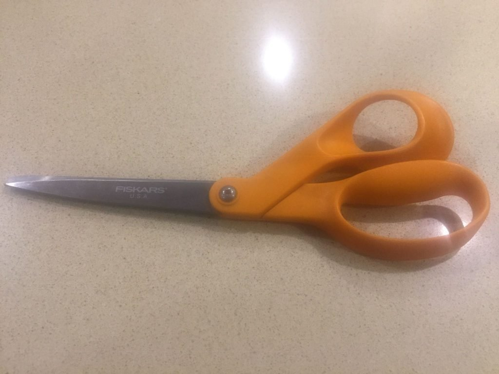 A picture of the scissors I used to cut the steel wool pad for the homemade wood dye
