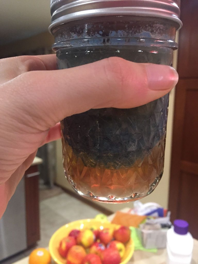 A picture of homemade wood dye made with steel wool and vinegar