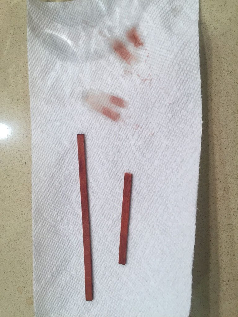 """A picture of the """"weathered"""" sticks after I wiped them off"""
