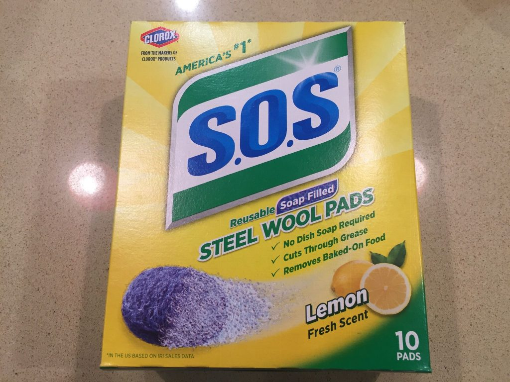 A picture of real steel wool pads for the homemade wood dye