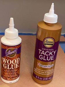 Wood glue and tacky glue bottles