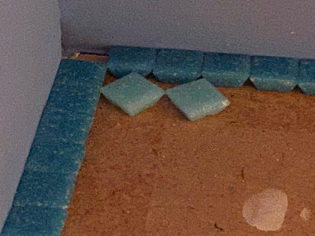 """The first two """"pattern"""" tiles laid in place"""