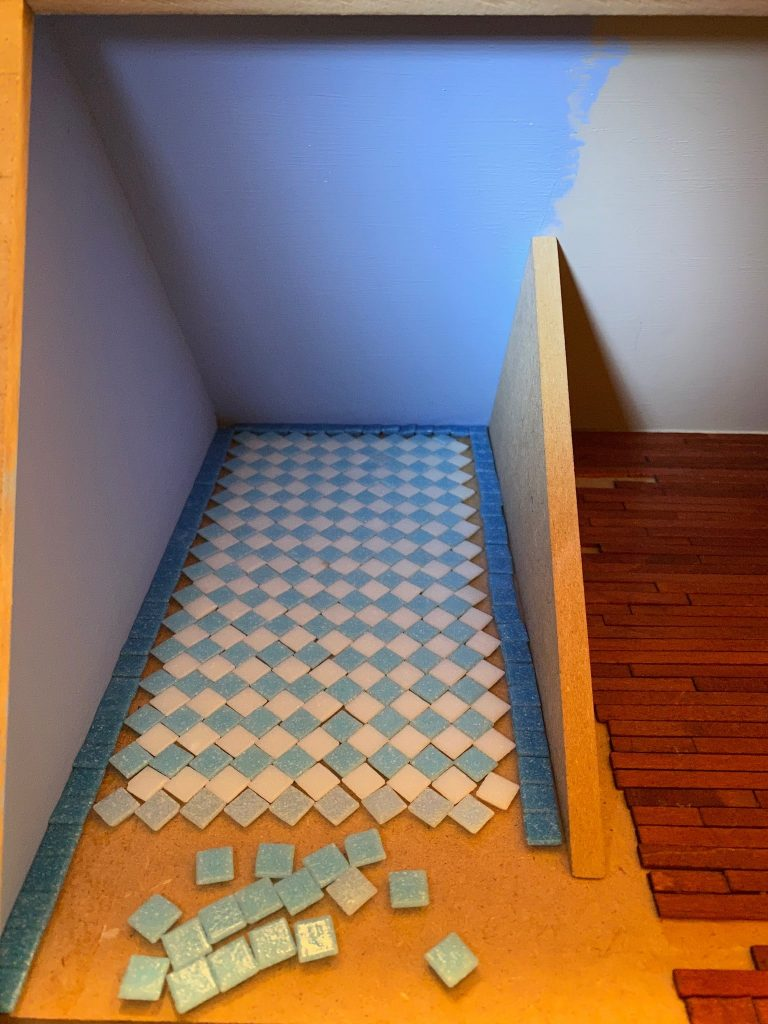 A row of the other blue colored tile