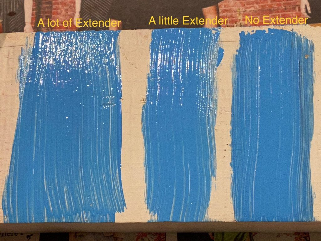 The three paint samples on the test wood