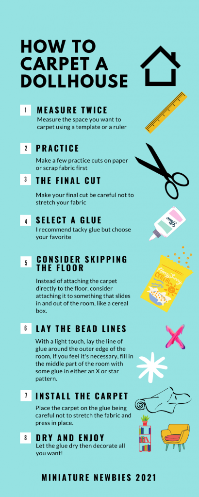 An infographic with a step by step guide of how to carpet a dollhouse
