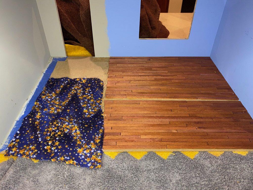 Regular fabric as dollhouse carpet flooring